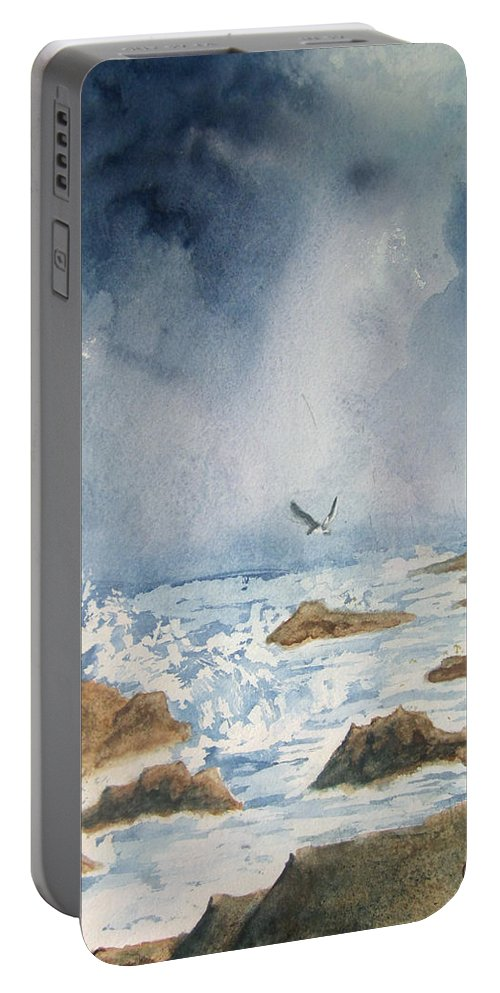Watercolor Portable Battery Charger featuring the painting The Storm by Carol Luzzi
