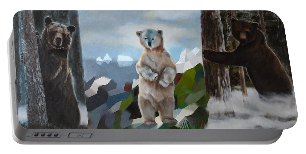 Bear Portable Battery Charger featuring the painting The Story Of The White Bear by Jukka Nopsanen