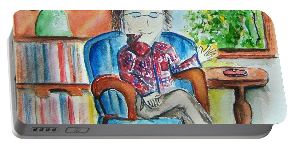 Storyteller Portable Battery Charger featuring the painting The Storyteller by Elaine Duras