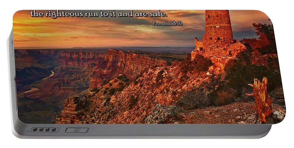 The Watchtower Portable Battery Charger featuring the photograph The Strong Tower by Priscilla Burgers
