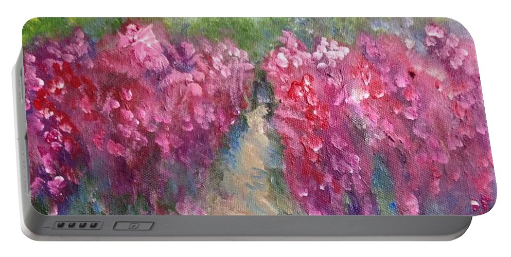 Acrylic Portable Battery Charger featuring the painting The Sumac Trail by Mark Szwabo