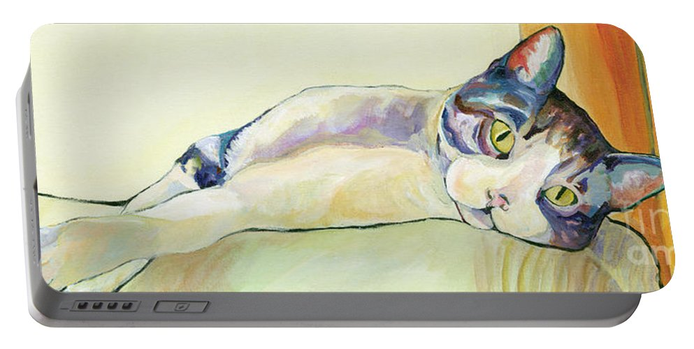 Pat Saunders-white Canvas Prints Portable Battery Charger featuring the painting The Sunbather by Pat Saunders-White