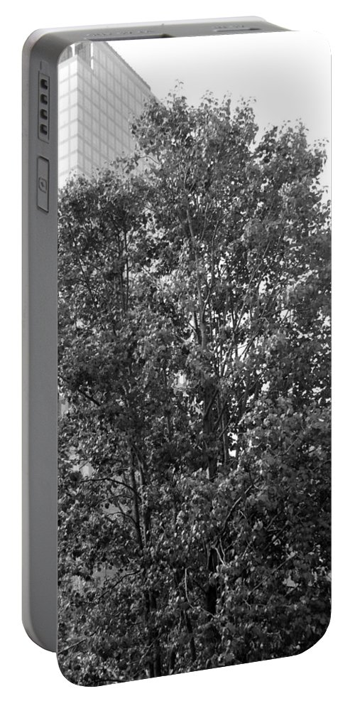Wtc Portable Battery Charger featuring the photograph The Survivor Tree In Black And White by Rob Hans