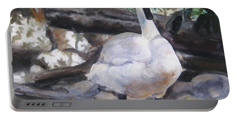 Swan Portable Battery Charger featuring the painting The Swan by Lori Brackett