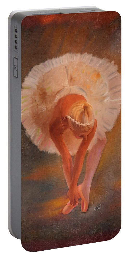 Ipad Portable Battery Charger featuring the painting The Swan Warming Up by Angela Stanton
