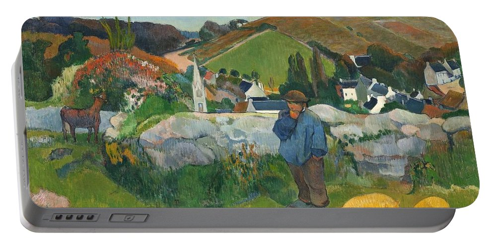 Paul Gauguin Portable Battery Charger featuring the digital art The Swinehead by Paul Gauguin
