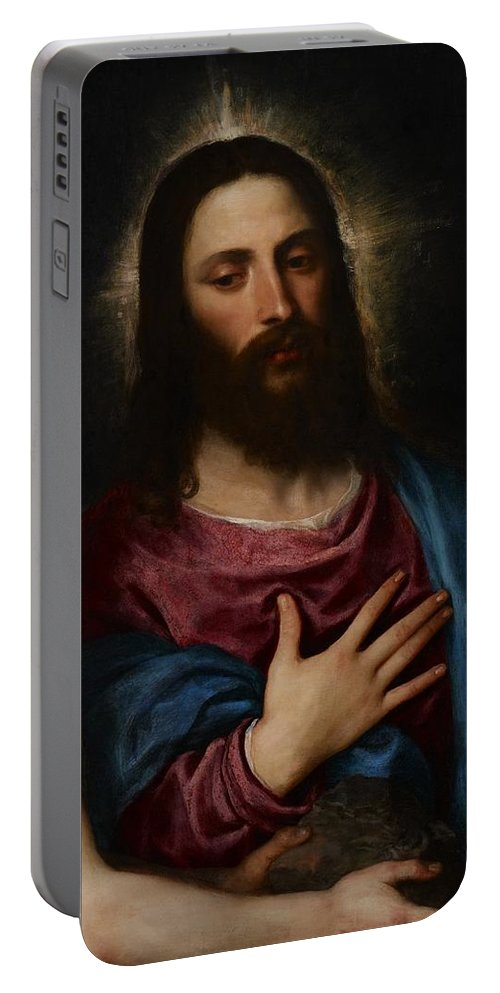 Resolve Portable Battery Charger featuring the painting The Temptation Of Christ by Titian