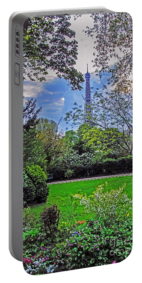 Travel Portable Battery Charger featuring the photograph The Tower Over A Garden by Elvis Vaughn