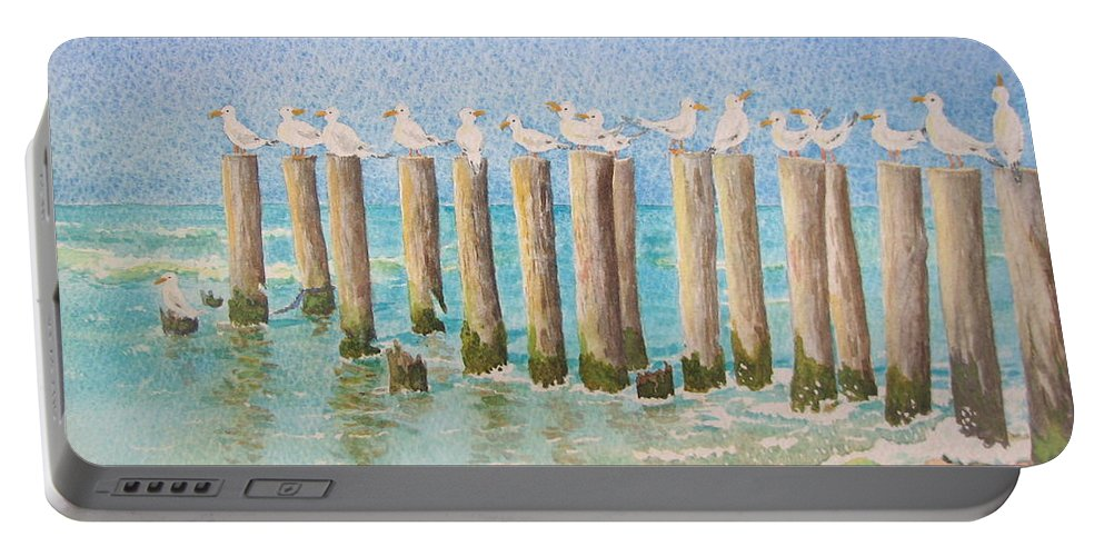 Seagulls Portable Battery Charger featuring the painting The Town Meeting by Mary Ellen Mueller Legault