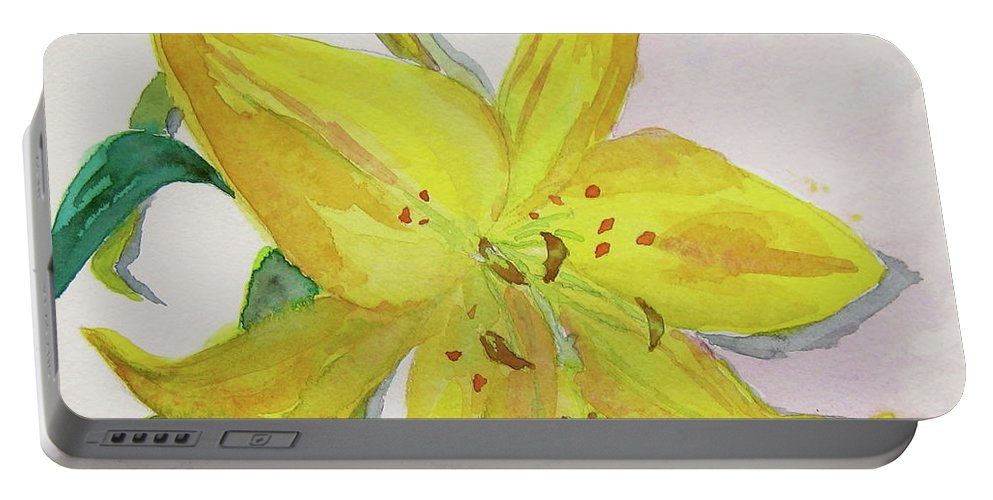 Lily Portable Battery Charger featuring the painting The Trickiness Of Yellow by Beverley Harper Tinsley