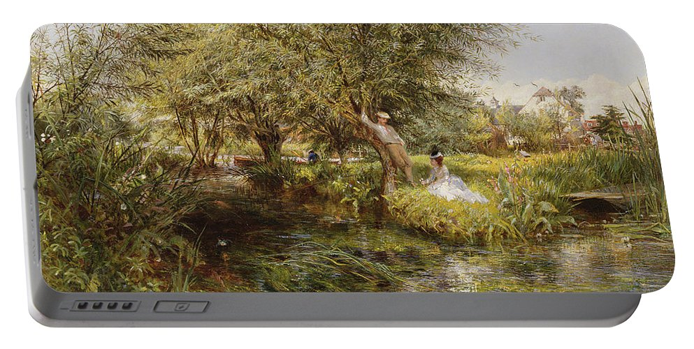 Landscape Portable Battery Charger featuring the painting The Trysting Place by Charles James Lewis