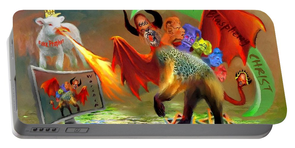 Bible Portable Battery Charger featuring the painting The Two Beasts Of Revelations by Susanna Katherine