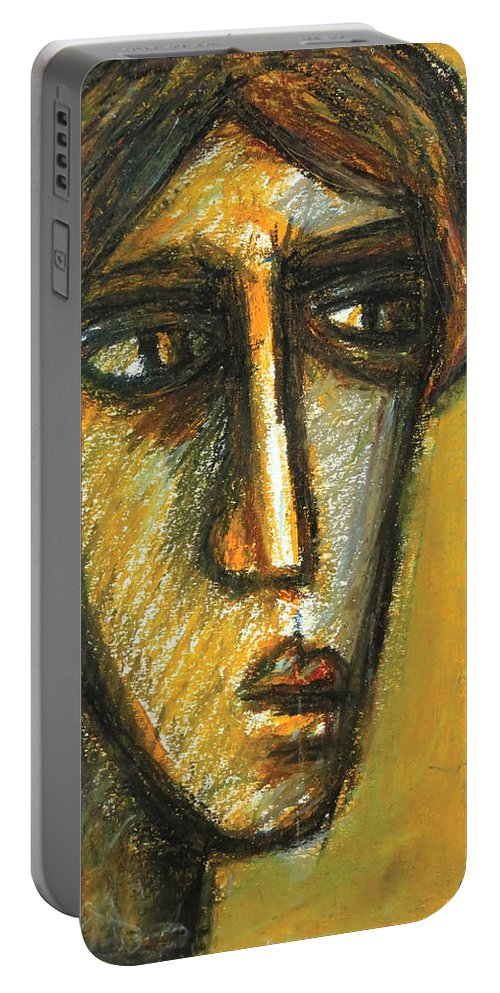 Portrait Portable Battery Charger featuring the pastel The Unseen - 2 by Rabi Khan