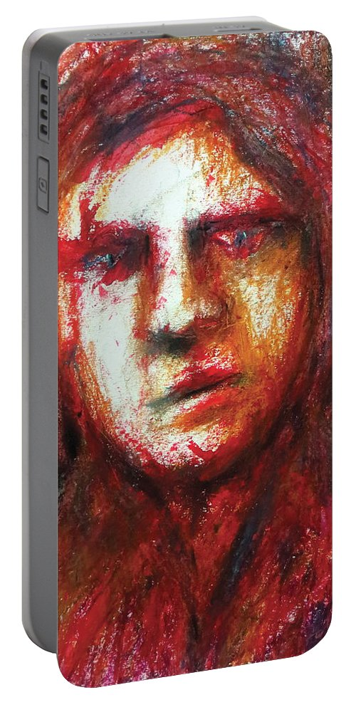 Portrait Portable Battery Charger featuring the pastel The Unseen - 3 by Rabi Khan