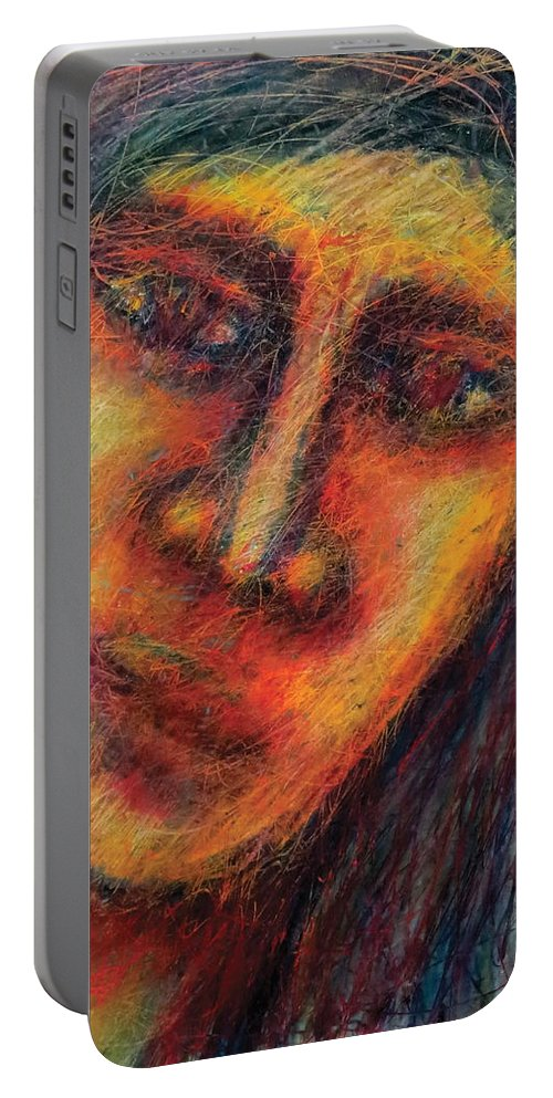 Portrait Portable Battery Charger featuring the pastel The Unseen - 4 by Rabi Khan