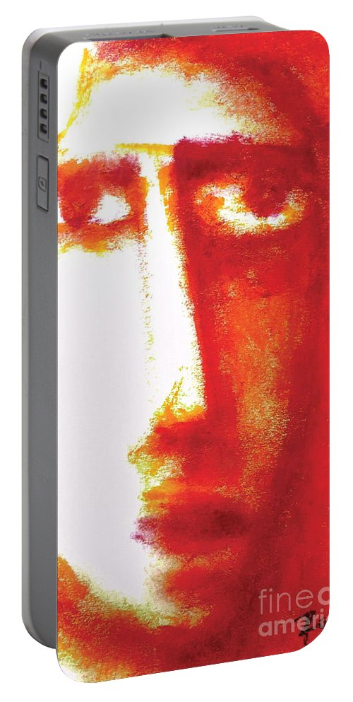Portrait Portable Battery Charger featuring the pastel The Unseen - 9 by Rabi Khan
