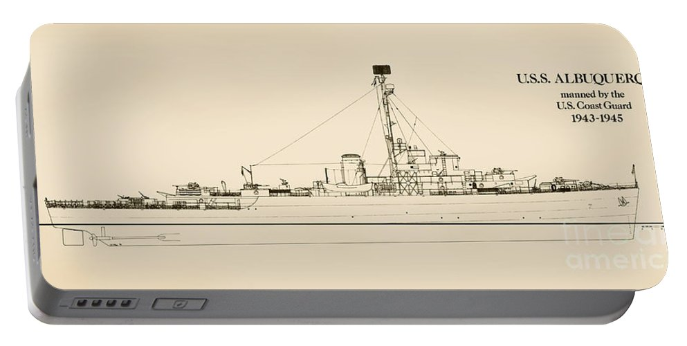 Uscg Portable Battery Charger featuring the drawing The U.s.s. Albuquerque by Jerry McElroy