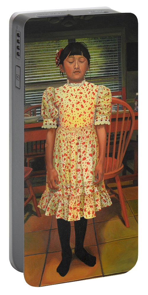 Children Paintings Portable Battery Charger featuring the painting The Valentine Dress by Thu Nguyen