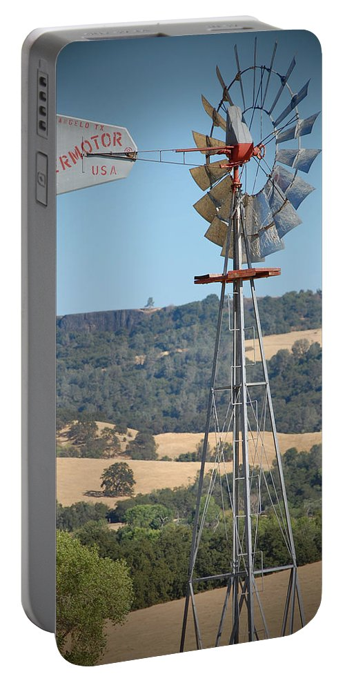 1920 Portable Battery Charger featuring the photograph The Valley Windmill by Holly Blunkall