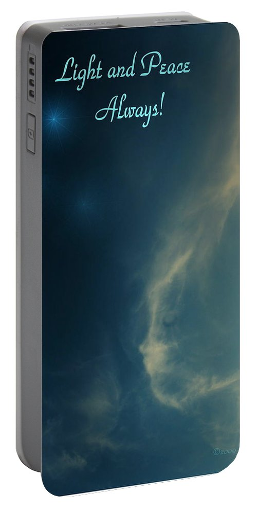 Cloudy Portable Battery Charger featuring the photograph The Visitor Light And Peace Always by Joyce Dickens