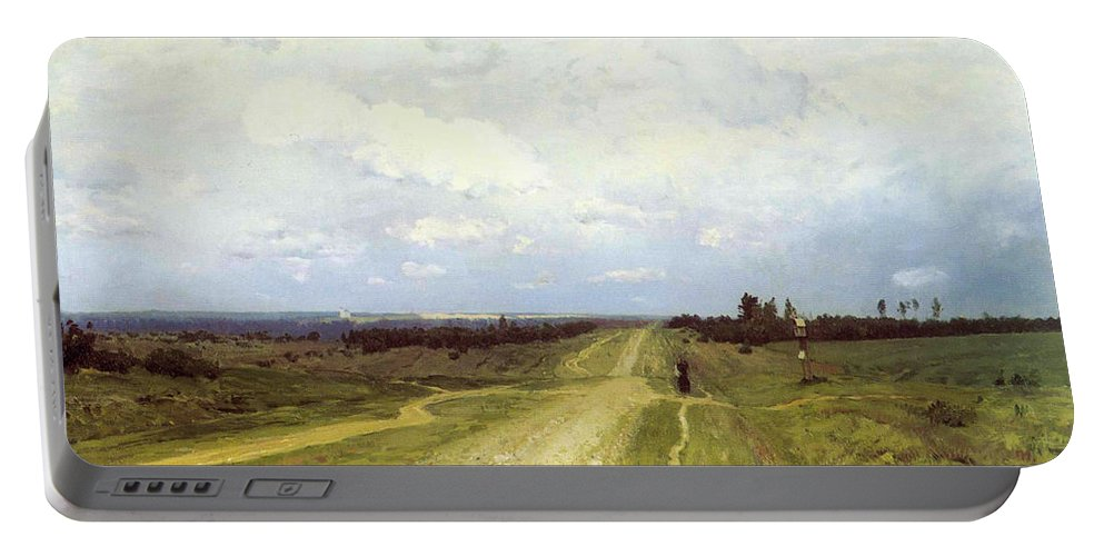 Russian; Landscape; Bleak; Desolate; Deserted; Track; Path; Flat; Exile; Rural; Remote; Countryside; Volga Motorway; Siberia Portable Battery Charger featuring the painting The Vladimirka Road by Isaak Ilyich Levitan