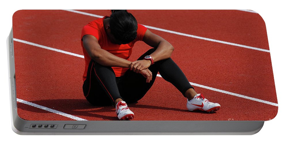 Canadian Track And Field National Championships 2011 Portable Battery Charger featuring the photograph The Wait by Bob Christopher