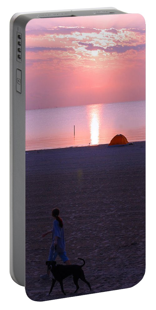 Ocean Portable Battery Charger featuring the photograph The Walk by Leticia Latocki