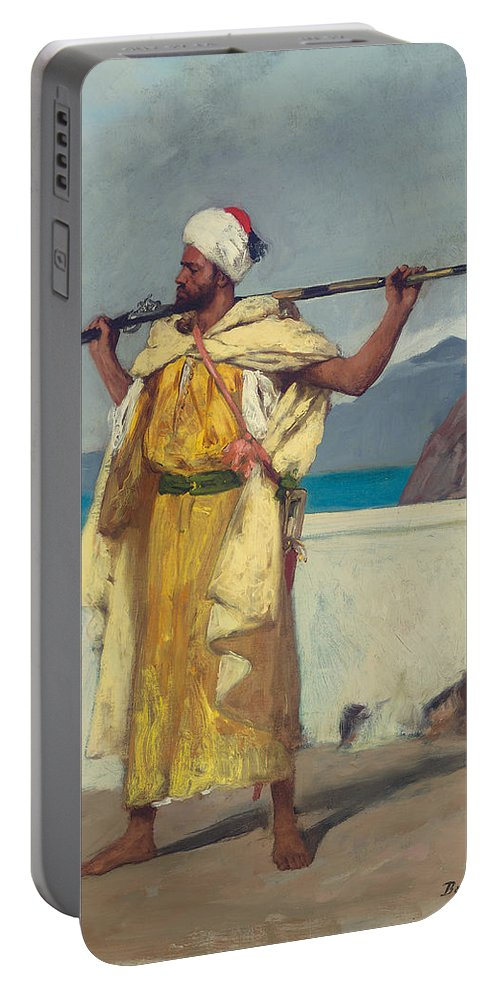 The Watchful Guard Portable Battery Charger featuring the painting The Watchful Guard by Jean Joseph Benjamin Constant