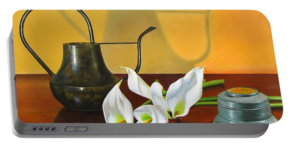 Watering Can Portable Battery Charger featuring the painting The Watering Can by Glenn Beasley