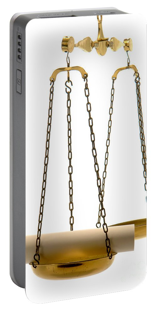 Scale Portable Battery Charger featuring the photograph The Weight Of A Decision by Olivier Le Queinec