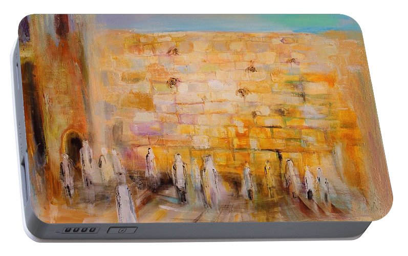 Modern Jewish Art Portable Battery Charger featuring the painting The Western Wall by Elena Kotliarker