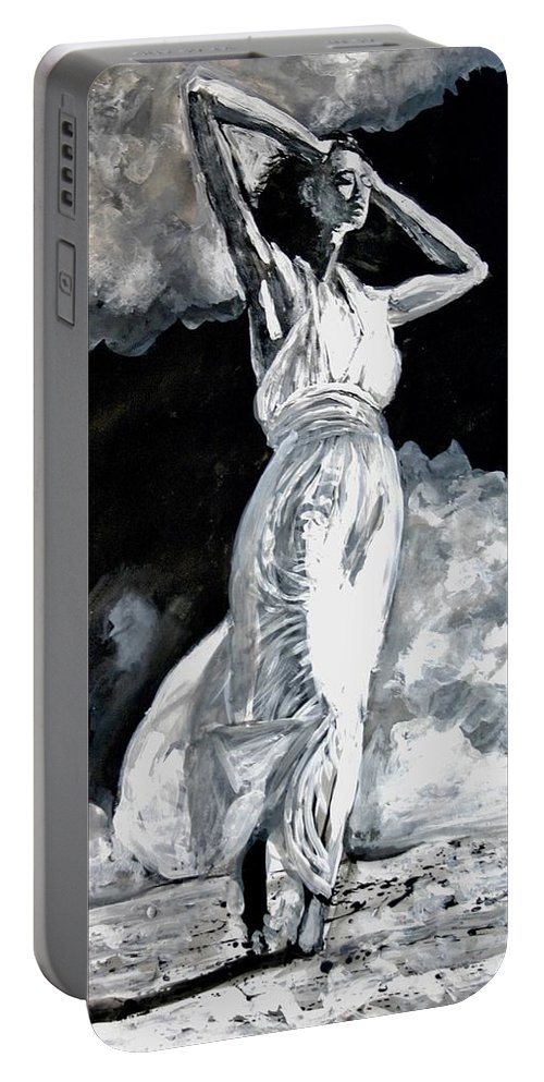 Portrait Portable Battery Charger featuring the painting The White Deer by Jarmo Korhonen aka Jarko