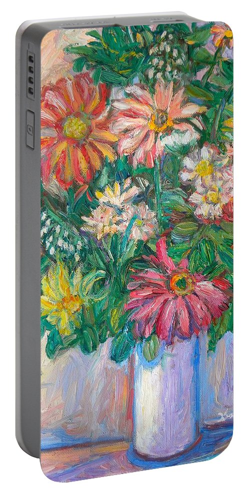 Still Life Portable Battery Charger featuring the painting The White Vase by Kendall Kessler