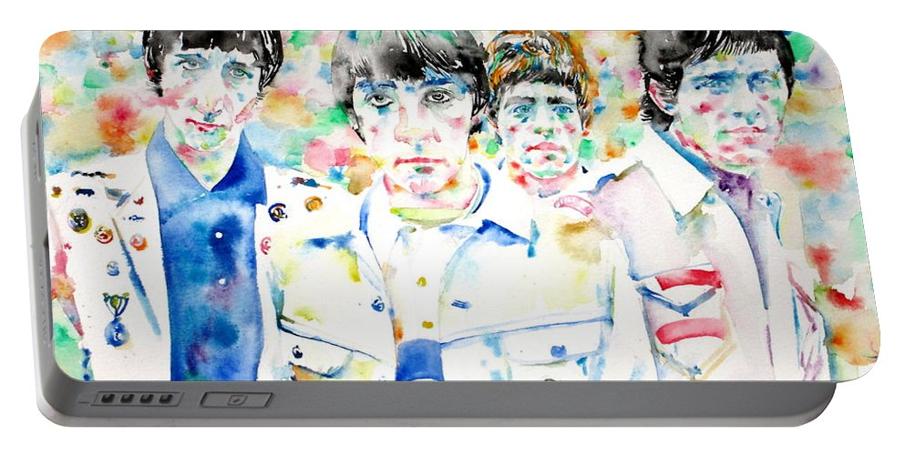 Who Portable Battery Charger featuring the painting The Who - Watercolor Portrait by Fabrizio Cassetta