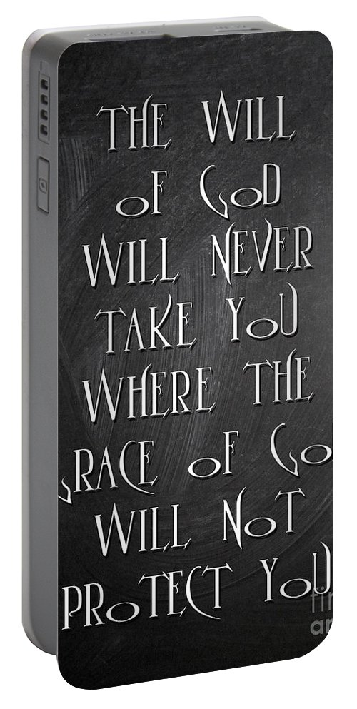 Quotes Portable Battery Charger featuring the digital art The Will Of God by Voros Edit