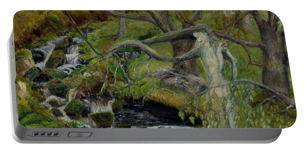 Landscape Portable Battery Charger featuring the painting The Willow Woman Washing Her Hair by Kathryn Bell