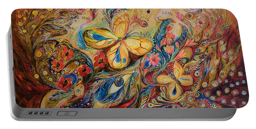 Original Portable Battery Charger featuring the painting The Wind by Elena Kotliarker