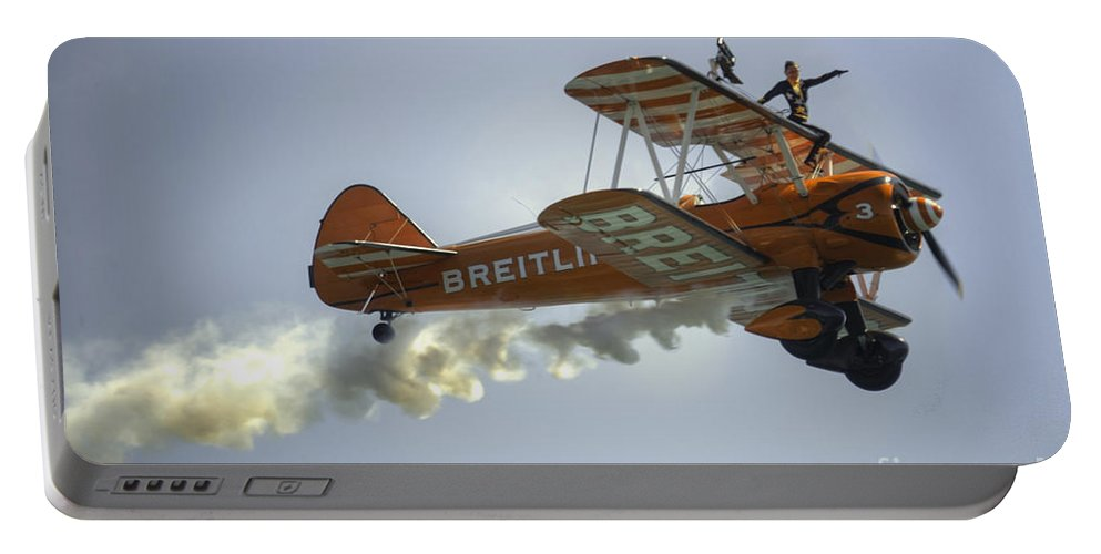 Biplane Portable Battery Charger featuring the photograph The Wing Walker by Rob Hawkins