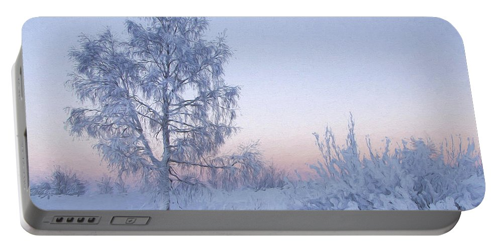 Art Portable Battery Charger featuring the painting The Winter Light by Veikko Suikkanen