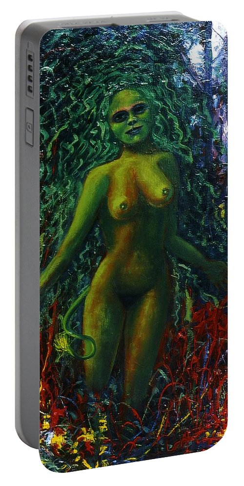 Genio Portable Battery Charger featuring the painting The Wood Nymph Tempts by Genio GgXpress