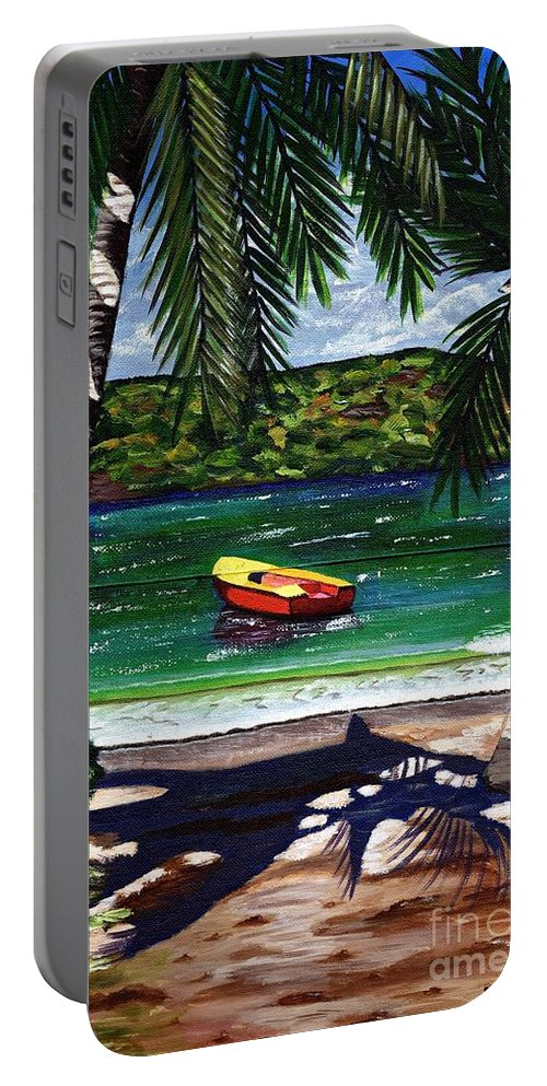 Seascape Portable Battery Charger featuring the painting The Yellow And Red Boat by Laura Forde