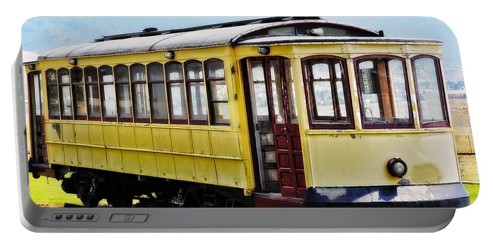 Butte Portable Battery Charger featuring the photograph The Yellow Trolley Car by Image Takers Photography LLC - Laura Morgan