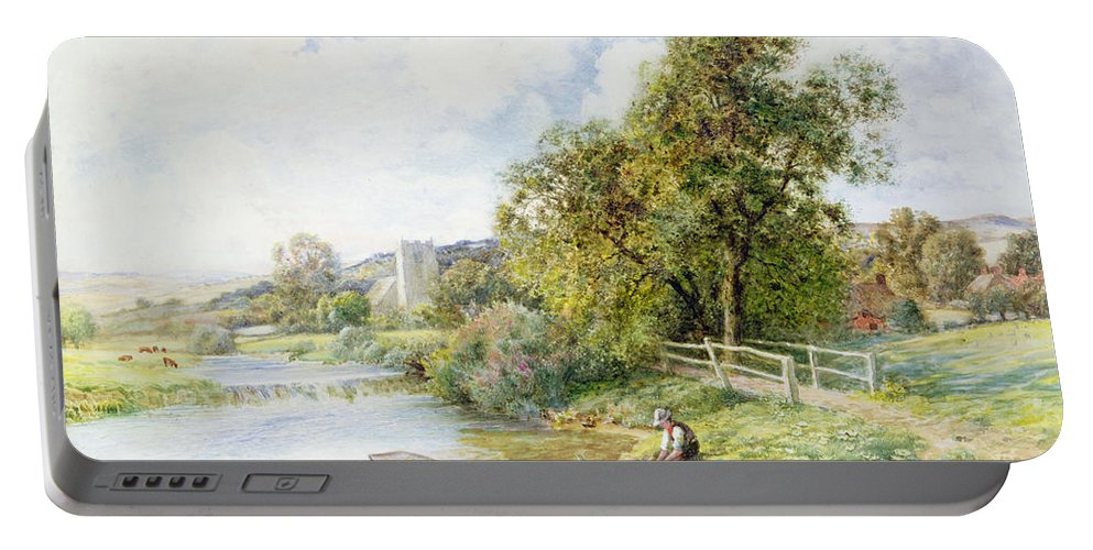 Fishing Portable Battery Charger featuring the painting The Young Angler by Arthur Claude Strachan