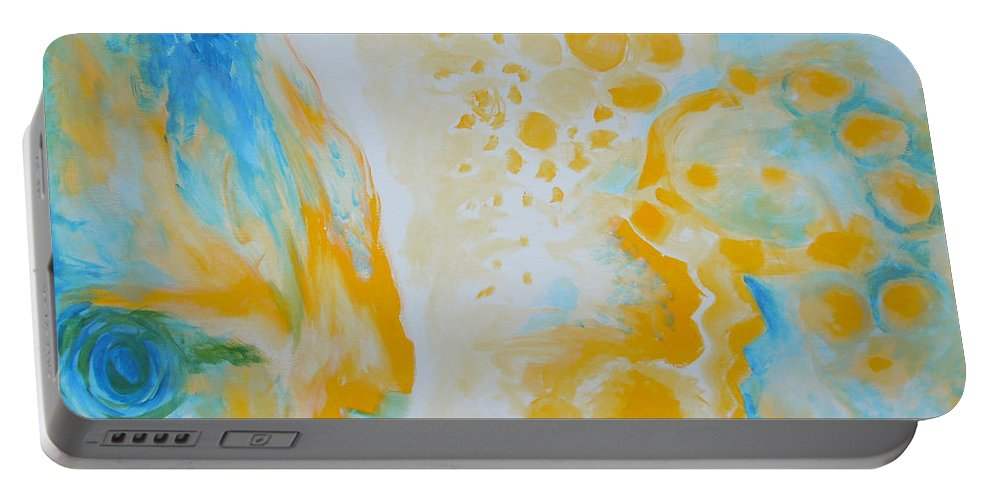 Circles Portable Battery Charger featuring the painting There - Looking At Me by Tonya Henderson