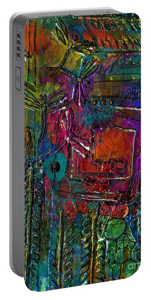 Metal Art Portable Battery Charger featuring the mixed media They Sing Of Freedom by Angela L Walker
