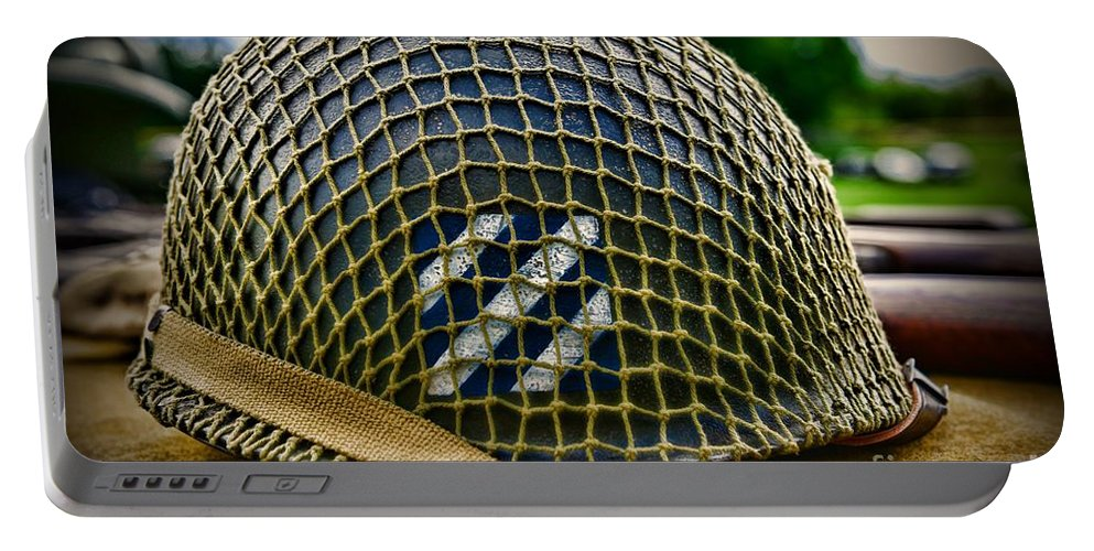 Paul Ward Portable Battery Charger featuring the photograph Third Infantry Division Helmet by Paul Ward