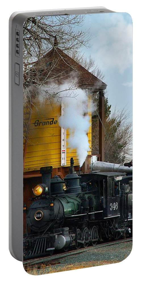 Steam Train Portable Battery Charger featuring the photograph Thirsty by Ken Smith