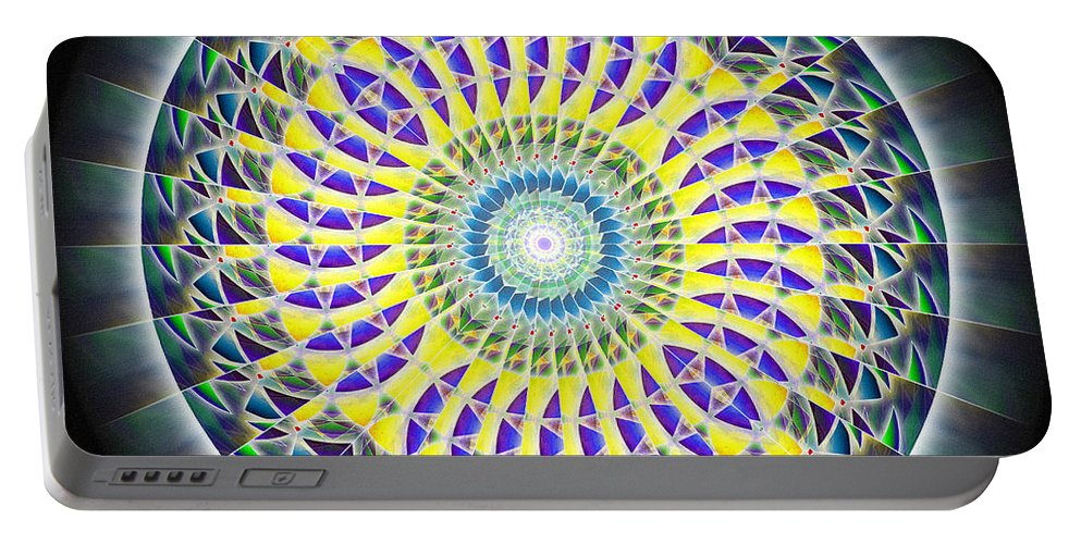 Sacredlife Mandalas Portable Battery Charger featuring the drawing Thirteen Stage Alchemy Kaleidoscope by Derek Gedney