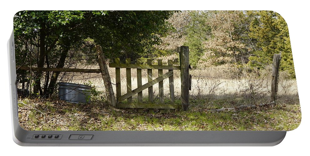 Old Portable Battery Charger featuring the photograph This Old Gate by Darrell Clakley