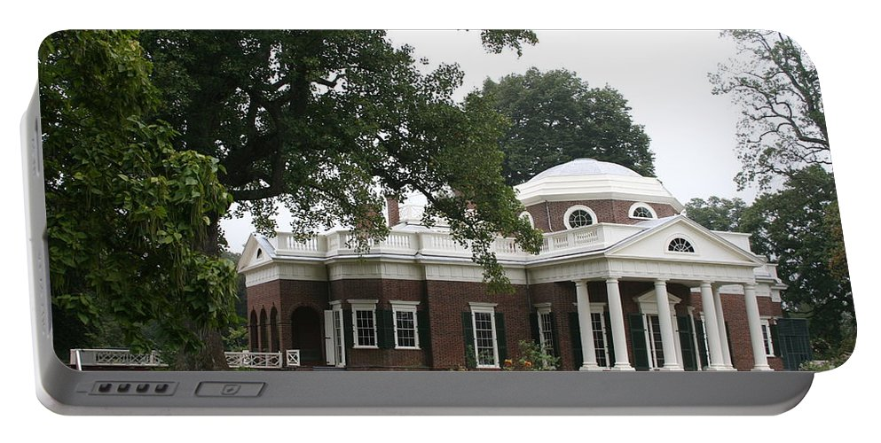 Monticello Portable Battery Charger featuring the photograph Thomas Jeffersons Monticello by Christiane Schulze Art And Photography